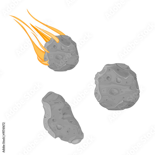 Falling Meteorite with asteroid icon illustrations - A vector illustration of an asteroid and meteor strike Wallpaper Mural