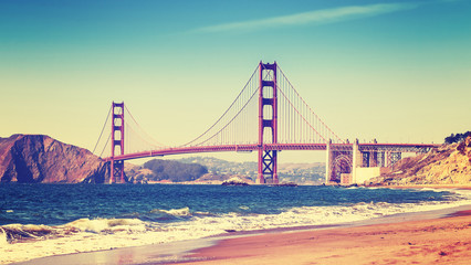 Fototapeta Mosty Retro style photo of Golden Gate Bridge, San Francisco.