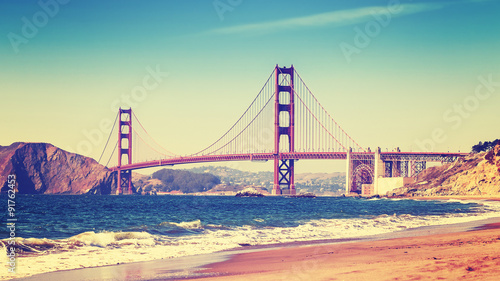 Keuken foto achterwand San Francisco Retro style photo of Golden Gate Bridge, San Francisco.