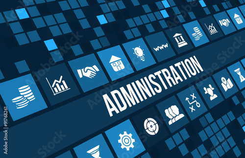 Administration concept image with business icons and copyspace Slika na platnu