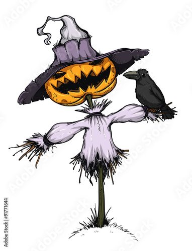 La pose en embrasure Fées, elfes Scarecrow with a pumpkin for a head. Colored and isolated.