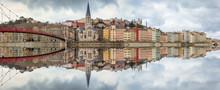 Lyon Quai Saône Reflet Fleuve Fourvière