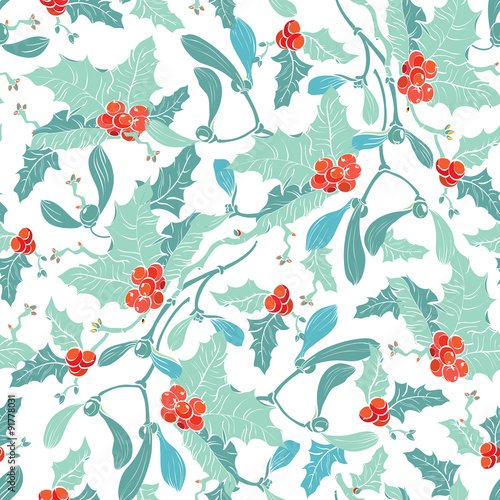 Cotton fabric Vector Mistletoe Holly Berries Blue Red Seamless Pattern, Pastel