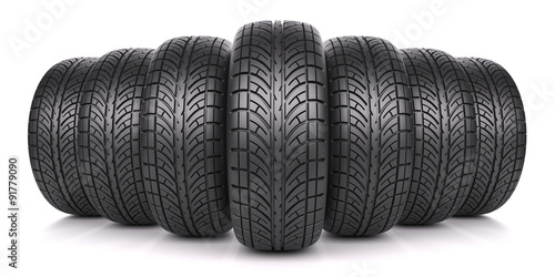 Fotografiet  Car tires in row isolated on white background 3d