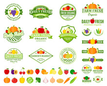 Fruits And Vegetables Logos, L...