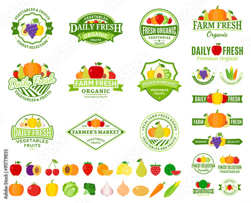Poster Cuisine Fruits and Vegetables Logos, Labels, Fruits and Vegetables Icons