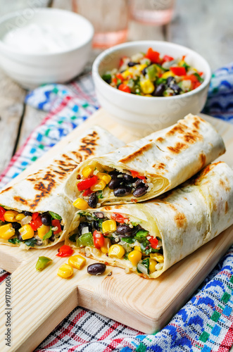 pepper corn black bean quinoa burritos Canvas Print