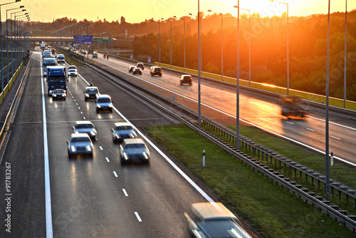 Stickers pour porte Autoroute nuit Four lane controlled-access highway in Poland