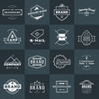 Set of Minimal and Clean Vintage Hipster Logotype Templates. White on Dark Background
