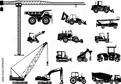 Obraz Set of heavy construction machines icons. Vector illustration - fototapety do salonu
