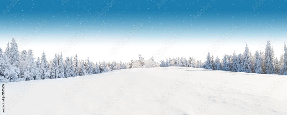 Zimowy śnieżny krajobraz <span>plik: #91789830 | autor: Jag_cz</span>