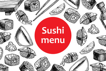 Panel Szklany Podświetlane Do gastronomi Vector vintage sushi restaurant menu illustration.