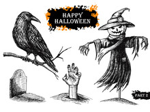 Vector Hand Drawn Halloween Set. Vintage Illustration.