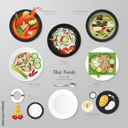Foto  Infographic Thai foods business flat lay idea. Vector
