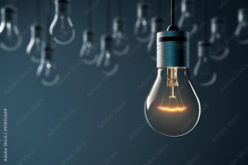 Fototapety, obrazy: Glowing Hanging Light Bulb