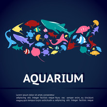 Aquarium Infographic Banner Template Layout With Marine Animal Icon Such As Shark, Sea Turtle, Jellyfish, Ray, Butterfly Fish, Angel Fish In Fish Shape In Deep Blue Water Background (vector)