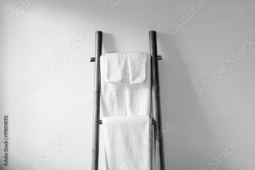 Towel on bamboo hanger