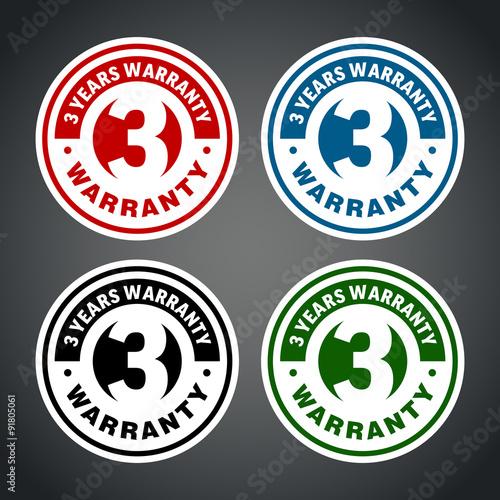 Fotografía  Three years warranty badge. Different colors