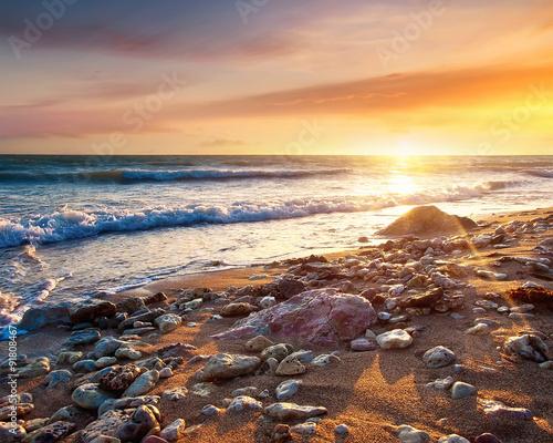 Seascape during sundown. Beautiful natural summer seascape Wall mural