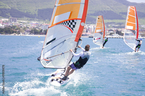 obraz lub plakat race on windsurfing