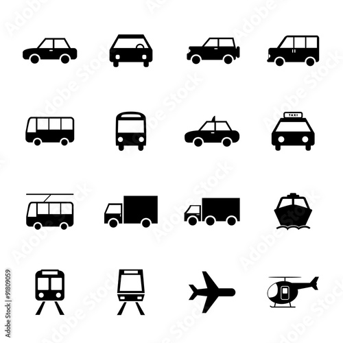 vehicle and transportation icons set car icon plubic bus. Black Bedroom Furniture Sets. Home Design Ideas