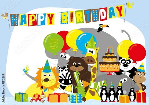 Birthday Card For 5 Years Old Child With Happy Wild Animals