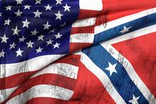 Usa And Confederate Flag