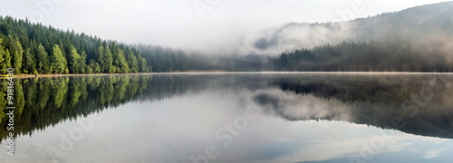 Foggy Landscape. Misty landscape of Lake Saint Anne.