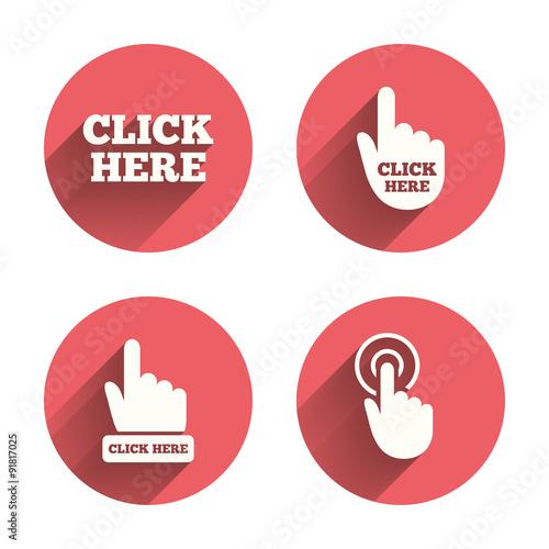 Fotografía  Click here signs. Hand press icons.