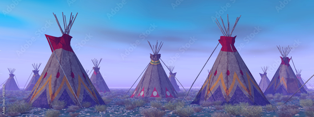Fototapeta Indian Camp at Dawn