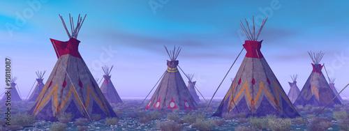 Fototapeta Indian Camp at Dawn obraz