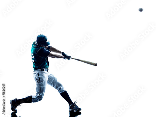 Photo  man baseball player silhouette isolated