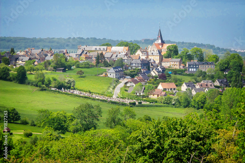 Photo sur Aluminium Pistache Landscape of Beaumont en Auge in Normandy, France