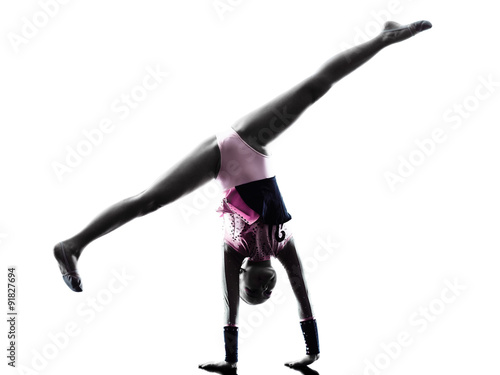 Poster de jardin Gymnastique Rhythmic Gymnastics little girl silhouette