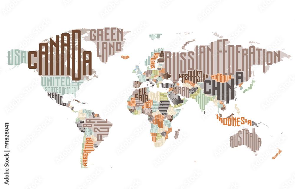 Láminas Mapa del mundo compuesto por nombres de países tipográficos ...