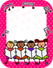Happy And Diverse Children Singing On A Large Pink Polka Dot Sign. Just Add Your Own Message Text In The Blank Space.