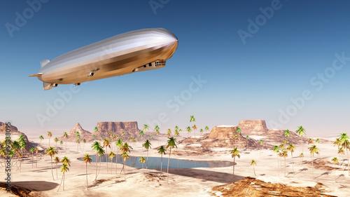 Luftschiff über einer Wüstenlandschaft Fotobehang