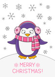 Cute penguin with Christmas message