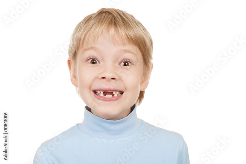Photo  Portrait of a toothless boy