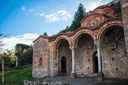In de dag Ruins of the Byzantine castle town of Mystras