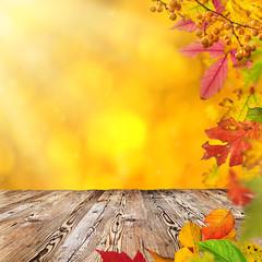 Naklejka na ściany i meble Colorful autumnal background with leaves