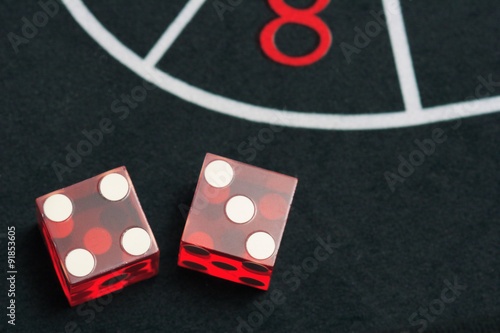Closeup of Dice on Gambling Table плакат