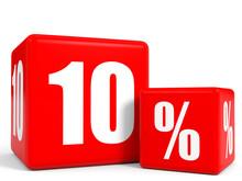 Red Sale Cubes. Ten Percent Discount.