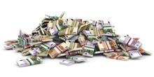 Money Heap. Different Euro Ban...