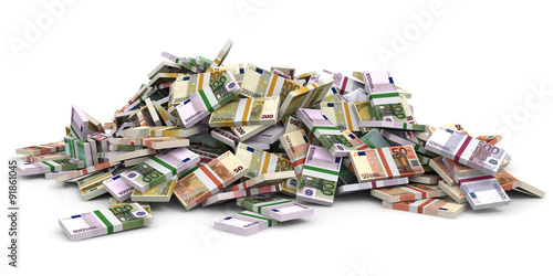 Stampa su Tela Money heap. Different Euro bank notes.