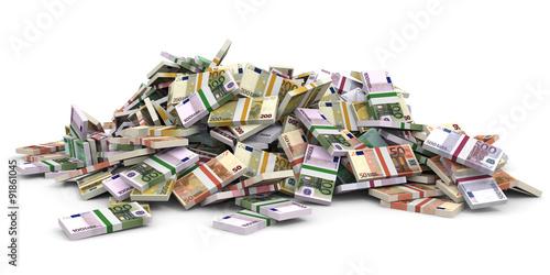 Fotografie, Obraz  Money heap. Different Euro bank notes.