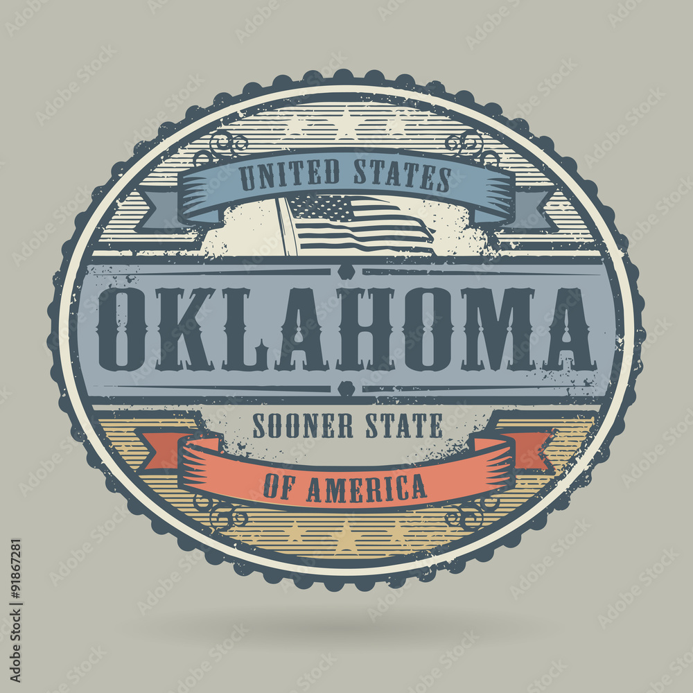 Vintage Stamp With The Text United States Of America Oklahoma Foto Poster Wandbilder Bei EuroPosters