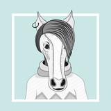 Fashion illustration of horse hipster - 91867416