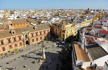 Virgen De Los Reyes Square, Panoramic View Of Seville, Spain