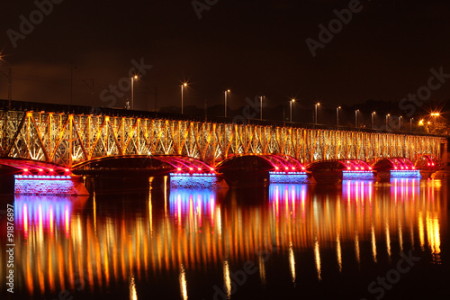 Valokuvatapetti Illuminated bridge in Plock Poland